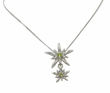 Load image into Gallery viewer, Sterling Silver Twain Sunray Pendant with a faceted Peridot gemstones