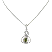 Load image into Gallery viewer, Double Infinity Pendant with a faceted Peridot