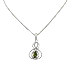 Double Infinity Pendant with a faceted Peridot
