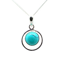 Load image into Gallery viewer, Round Sterling Silver Pendent with a Cbuchone Turquoise