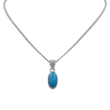 Load image into Gallery viewer, Sterling Silver Pendant with a Lozenge shape Turquoise Cabochon gemstone