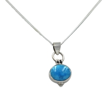 Load image into Gallery viewer, Oval Shaped simple but elegant pendant with a cabochon Turquoise stone
