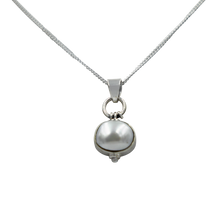 Load image into Gallery viewer, Oval Shaped simple but elegant pendant with a cabochon Pearl