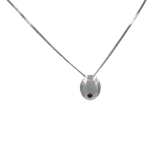 Sundari oval ruby and silver pendant
