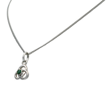 Load image into Gallery viewer, Celtic pendant with a half sphere faceted Emerald