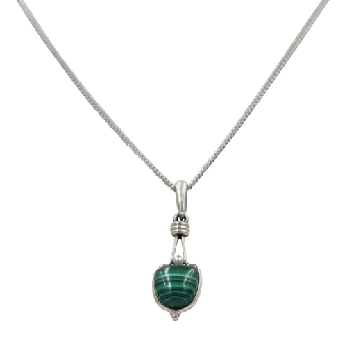 Single Malachite Stone Split Bale sterling Silver Pendant
