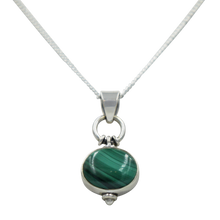 Load image into Gallery viewer, Oval Shaped simple but elegant pendant with a cabochon Malachite stone