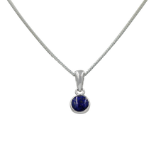 Load image into Gallery viewer, A simple round Lapis Lazuli pendant presented on a sterling Silver chain