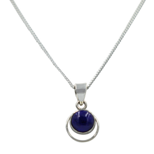 Load image into Gallery viewer, Round Sterling Silver Pendent with a Lapis Lazuli Cabochon gemstone