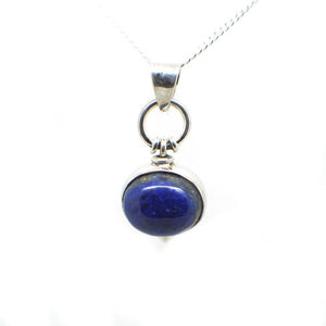 Ovel Shaped simple but elegant pendant with a cabochon Lapis Lazuli