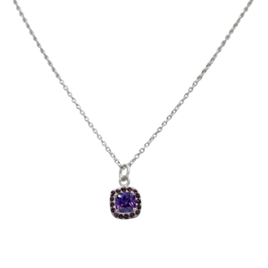 Pendant with a Amethyst Zirconia faceted stone