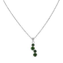 Load image into Gallery viewer, Sundari four round stone in Green Zirconia silver pendant.