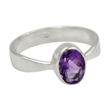 Load image into Gallery viewer, A very delicate ring in sterling silver with a small faceted oval Amethyst stone.