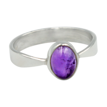 Load image into Gallery viewer, A very delicate ring in sterling silver with two slight curves  in the shank and a small oval Amethyst cabochon stone