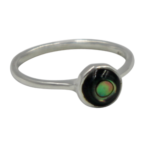 Thin band sterling silver ring with round Abalone  head