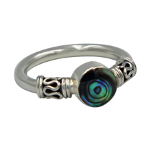 Load image into Gallery viewer, Another Sundari classic chunky wire solid sterling silver ring with a beautiful natural Abalone head.