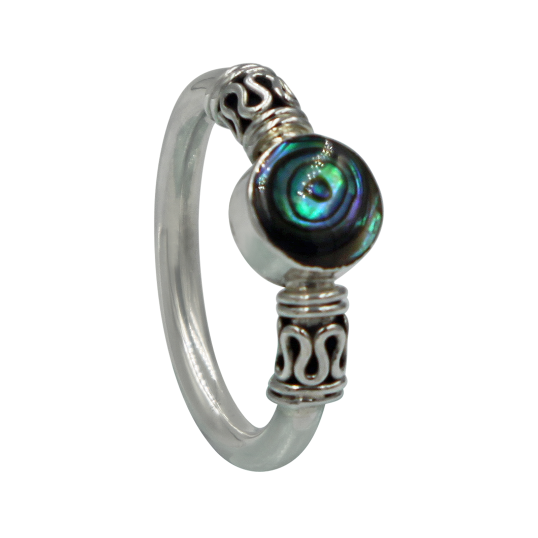 Another Sundari classic chunky wire solid sterling silver ring with a beautiful natural Abalone head.