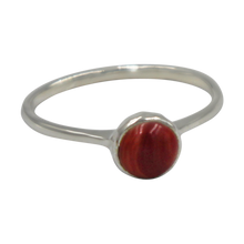 Load image into Gallery viewer, Thin band sterling silver ring with round Coral head