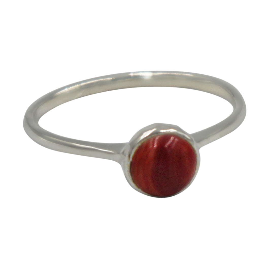 Thin band sterling silver ring with round Coral head