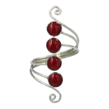 Load image into Gallery viewer, Unique Sundari design of a simple Swirl Ring with natural Corals.