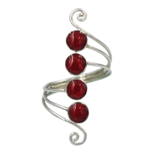 Unique Sundari design of a simple Swirl Ring with natural Corals.