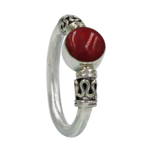 Load image into Gallery viewer, Another Sundari classic chunky wire solid sterling silver ring with a beautiful natural Coral head.
