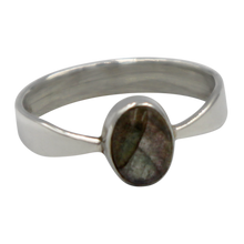 Load image into Gallery viewer, A very delicate ring in sterling silver with two slight curves in the shank and a small oval cabochon stone.