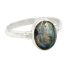 Load image into Gallery viewer, A simple and slightly ethnic ring with a large oval Dark Labradorite which can be used for everyday wearing