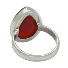 Load image into Gallery viewer, Handcrafted  Sterling Silver ring with a big teardrop shape Carnelian stone.