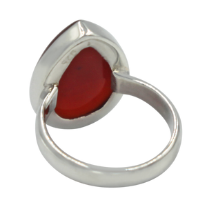 Handcrafted  Sterling Silver ring with a big teardrop shape Carnelian stone.
