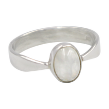 Load image into Gallery viewer, A very delicate ring in sterling silver with two slight curves  in the shank and a small oval Rainbow Moonstone