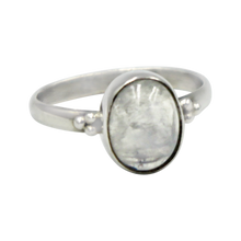 Load image into Gallery viewer, A simple and slightly ethnic ring with a large oval Moonstone which can be used for everyday wearing