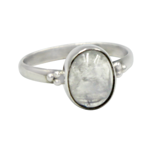 A simple and slightly ethnic ring with a large oval Moonstone which can be used for everyday wearing