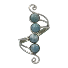 Load image into Gallery viewer, Unique Sundari design of a simple Swirl Ring with Larima stones.