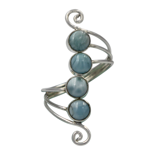 Unique Sundari design of a simple Swirl Ring with Larima stones.