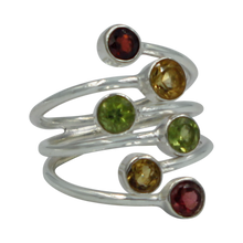 Load image into Gallery viewer, Another Sundari unique design. This faceted multi stone ring is a nice combination of colored gemstones with a unique design .