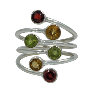 Another Sundari unique design. This faceted multi stone ring is a nice combination of colored gemstones with a unique design .