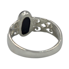 Load image into Gallery viewer, Long Oval Black Onyx Sterling Silver Ring