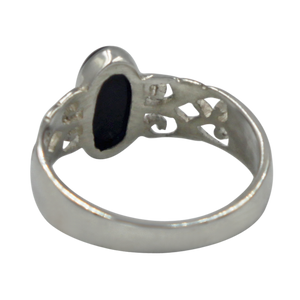 Long Oval Black Onyx Sterling Silver Ring