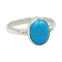 Load image into Gallery viewer, A simple and slightly ethnic ring with a large oval Turquoise which can be used for everyday wearing