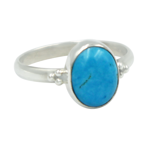 A simple and slightly ethnic ring with a large oval Turquoise which can be used for everyday wearing