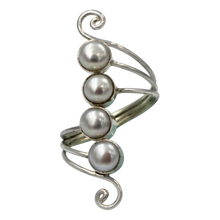 Load image into Gallery viewer, Unique Sundari design of a simple Swirl Ring with natural freshwater Pearls.