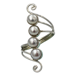 Unique Sundari design of a simple Swirl Ring with natural freshwater Pearls.