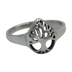 Tree of life Drop Shape Sterling Silver Ring