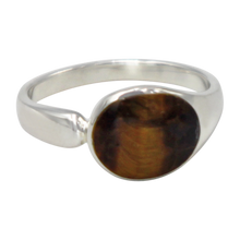 Load image into Gallery viewer, Tigers eye high polished sterling silver ring