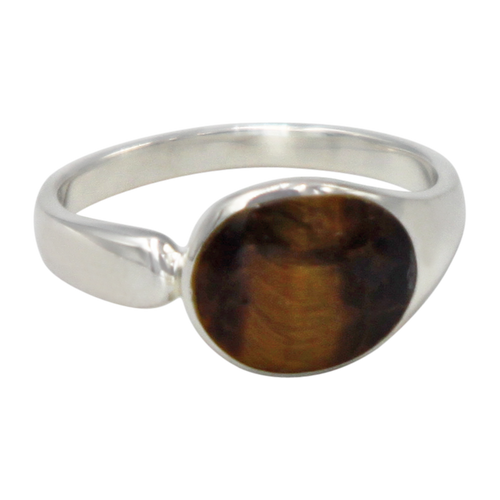 Tigers eye high polished sterling silver ring