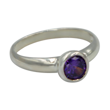 Load image into Gallery viewer, Sundari round Amethyst Cubic Zirconia Sterling silver ring