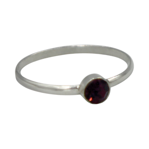 Simple Garnet Cubic Zirconia small stone extra thin Ring. Available in multiple colours.