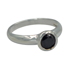 Load image into Gallery viewer, Sundari round Black Onyx Cubic Zirconia Sterling silver ring