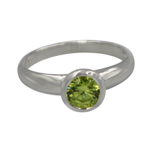 Load image into Gallery viewer, Sundari round Peridot Cubic Zirconia Sterling silver ring